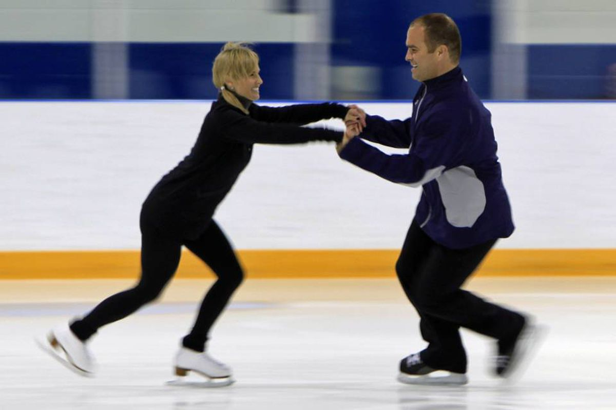 Tie Domi and Christine Hough-Sweeney skate together in practice for the CBC presentation of Battle of the Blades.