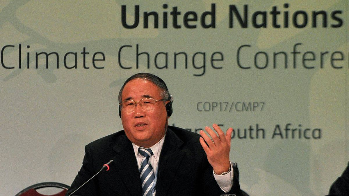 Xie Zhenhua, Vice-Chairman of the National Development and Reform Commission of China and head of Chinese delegation to the UN climate talks, speaks during a news conference in Durban on Dec. 5, 2011.