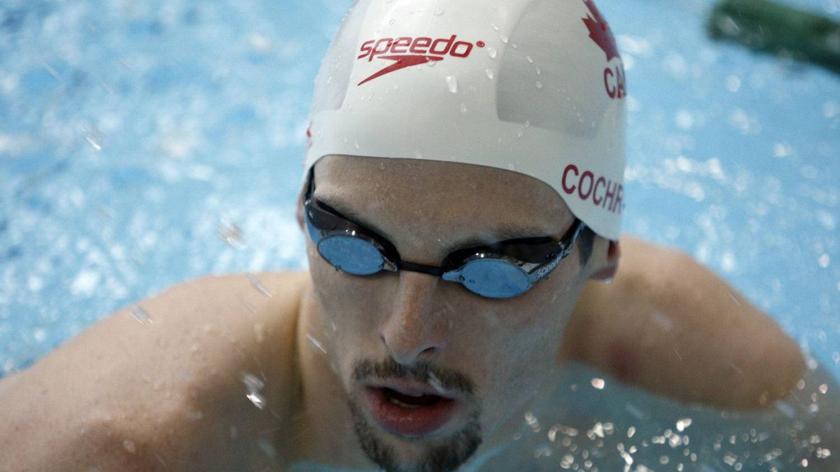 Ryan Cochrane, an Olympic bronze medal winner in the 1500m freestyle in Beijing, China in 2008, rests between sets as he prepares to compete in this years the summer Olympics in London,UK during a training session at the Saanich Commonwealth Place near Victoria,BC.
