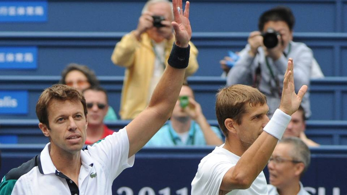 Daniel Nestor of Canada, left, and Max Mirnyi of Belarus. Getty Images