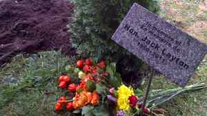 A cedar tree grows in honour of Jack Layton at a cemetery in Hudson, Que. A portion of the late NDP leader's ashes were scattered in a family plot alongside the grave of his father Robert, a cabinet minister in Brian Mulroney's government.
