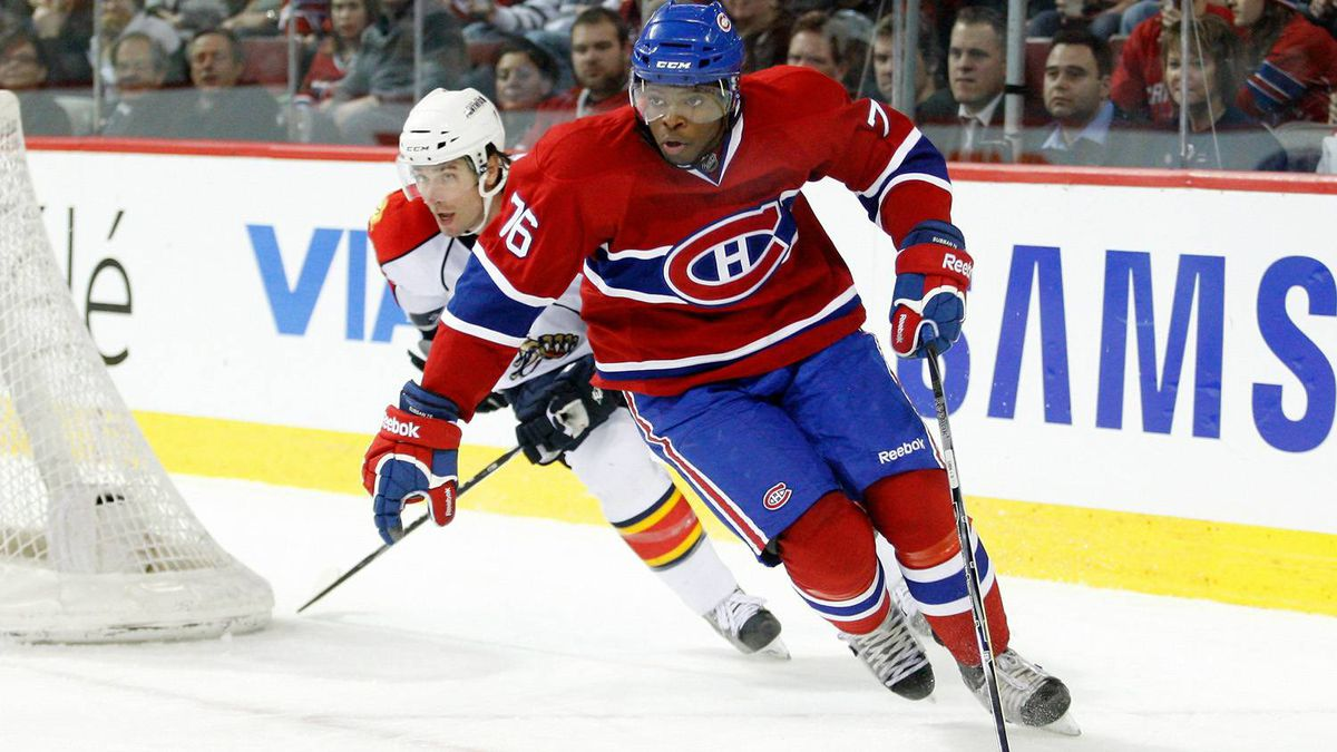 P.K. Subban #76 of the Montreal Canadiens skates with the puck during the NHL game against the Florida Panthers at the Bell Centre on February 2, 2011 in Montreal, Quebec, Canada. The Canadiens defeated the Panthers 3-2.