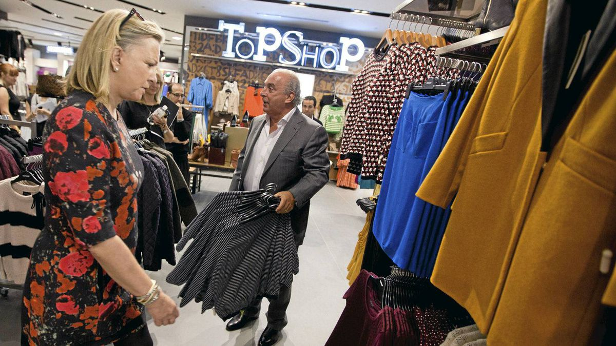 Sir Philip Green of Topshop with Hudson's Bay Co. CEO and president Bonnie Brooks at the new Topshop location in Yorkdale Mall in Toronto.