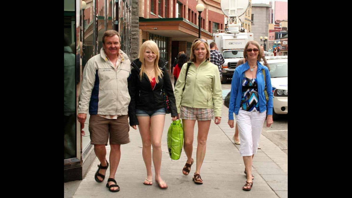 Image of my wife and her family take on Water Street in downtown St. John's during a recent shopping trip.