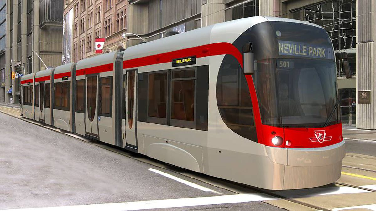 A Bombardier LRV, designed for Toronto's transit commission, is shown in an artist's rendering.