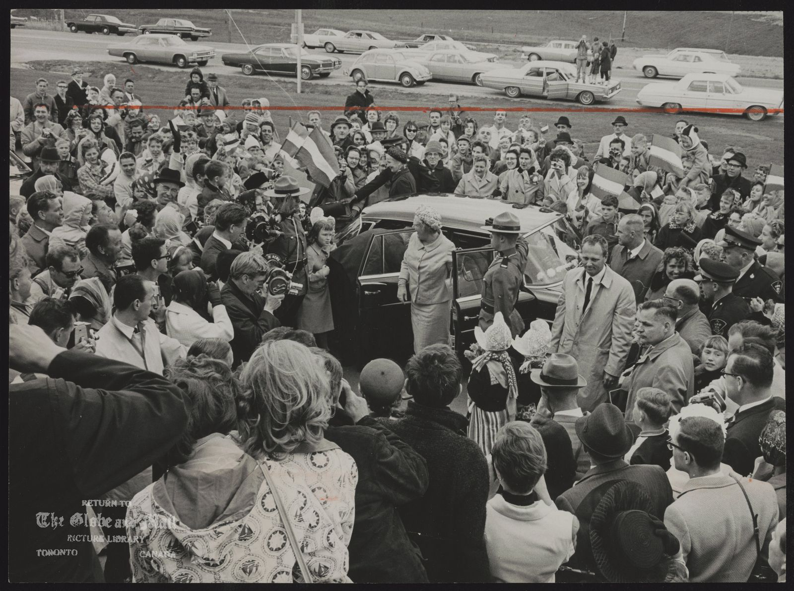 ROYAL FAMILY Netherlands Queen Juliana Queen Juliana greets crowd of 400, many from Dutch community around Brantford, after arrival yesterday afternoon at Dutch tobacco firm, Theodorus Niemeyer Canada Ltd.