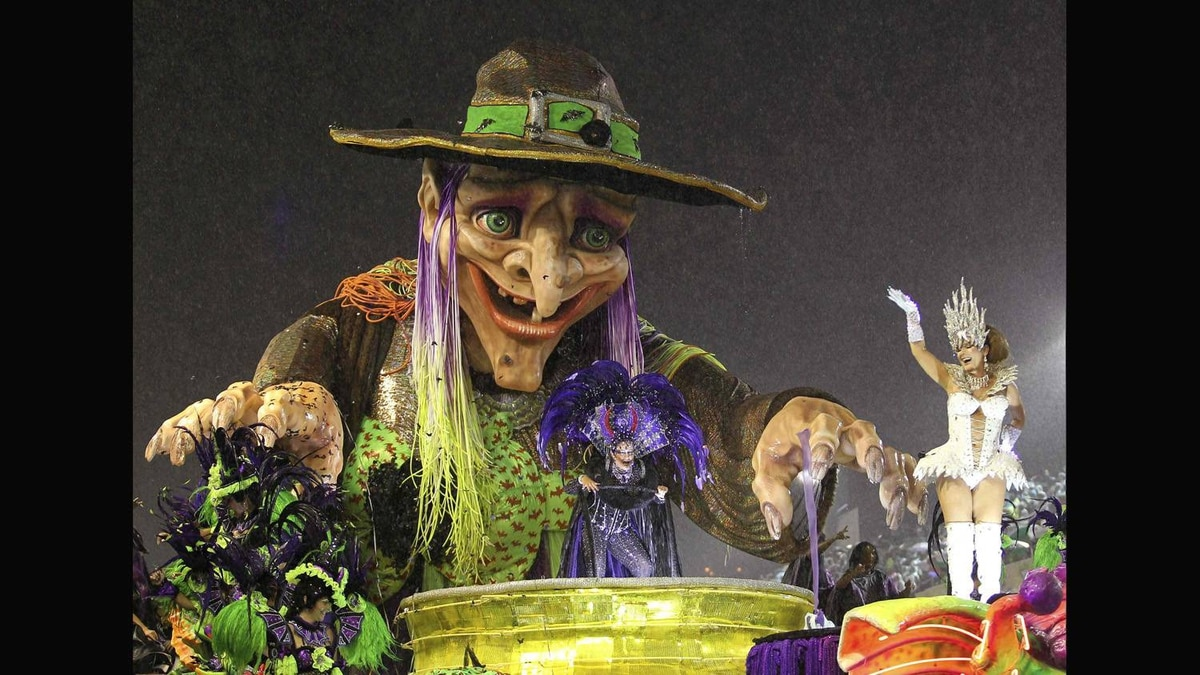 Revelers of the Grande Rio samba school participate in the second night of the annual Carnival parade.
