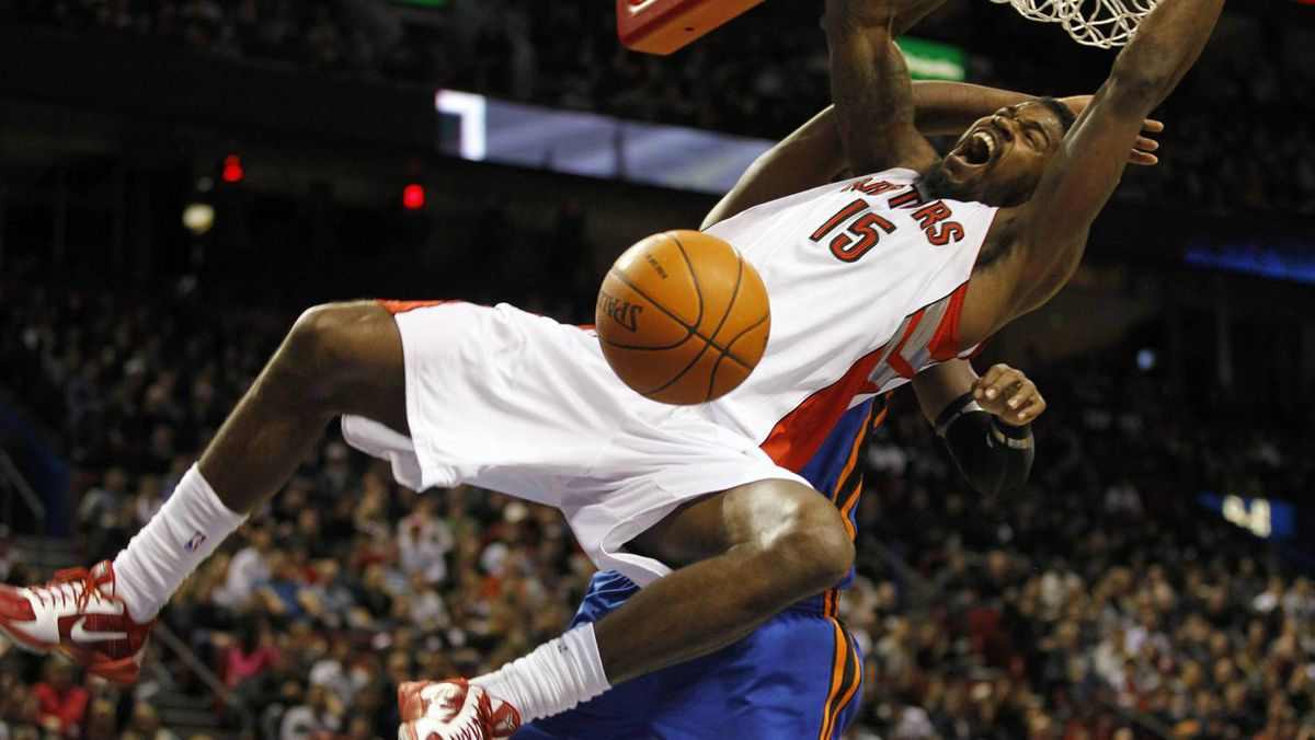 Amir Johnson slam during the first half of NBA pre-season action against the New York Knicks in Montreal.