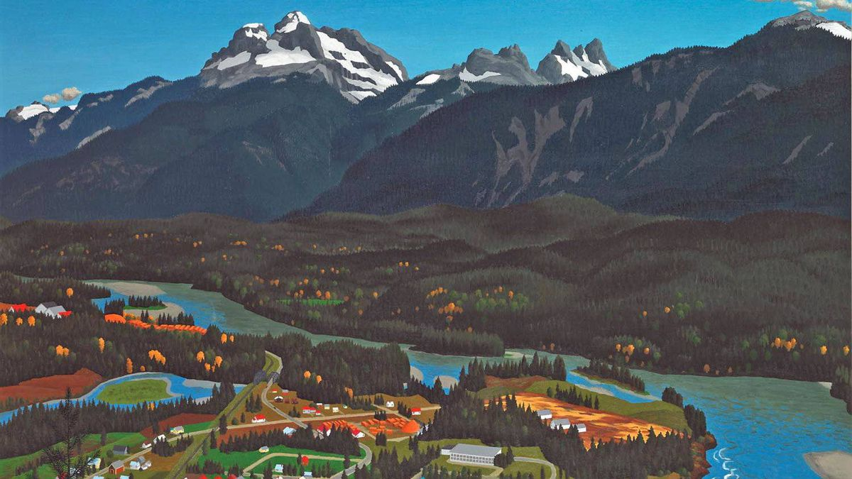 A detail from Above Revelstoke, BC, by E.J. Hughes.