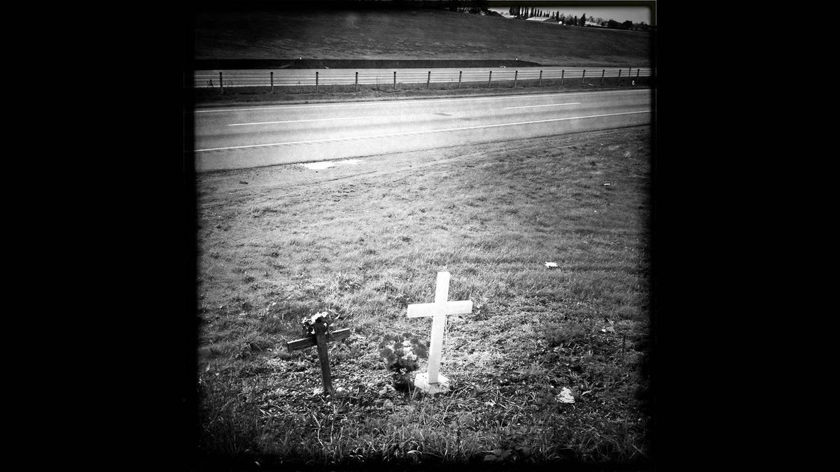 A roadside memorial in Chilliwack, BC along Highway number one.