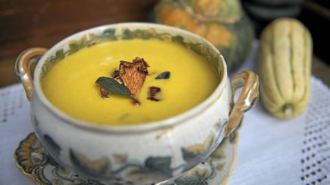 Squash soup with wild mushrooms