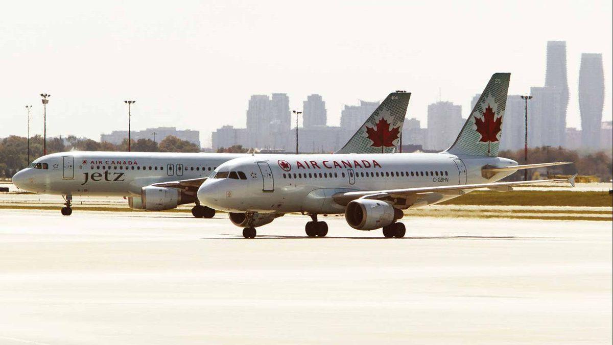 Air Canada aircraft are seen at Toronto Pearson International Airport.