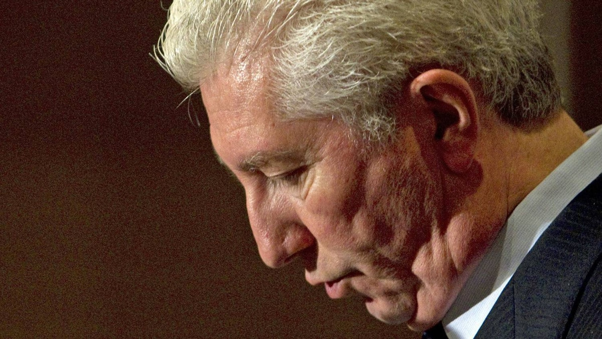 Gilles Duceppe speaks to reporters at a post-election news conference on May 11, 2011 in Laval, Que.