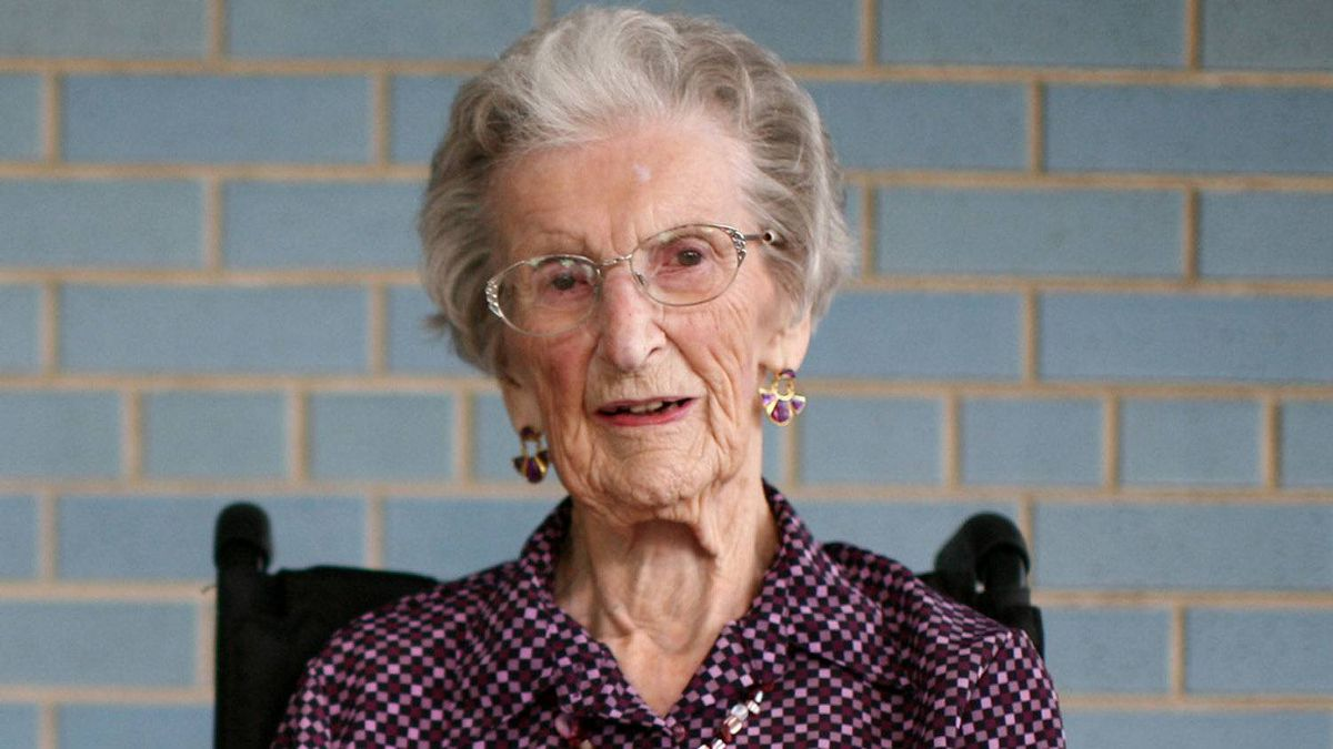 Flora Murray 102 years old pose for a photograph at St. Patrick Home in Ottawa.