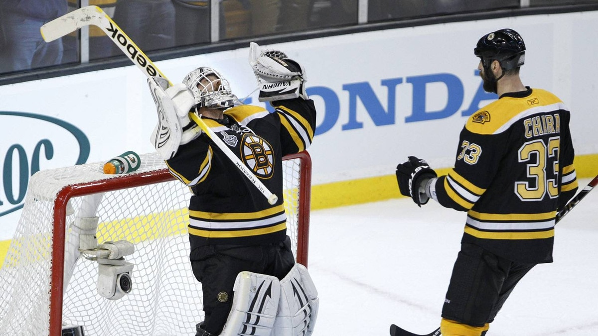 Boston Bruins Tim Thomas celebrates during the third period of the NHL Stanley Cup Final Game 6 in Boston on June 13, 2011. The Boston Bruins tied the series at three games apiece with a 5-2 victory over the Vancouver Canucks.