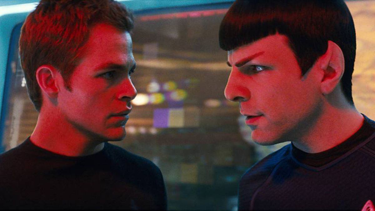 """James T. Kirk (Chris Pine, left) and Spock (Zachary Quinto, right) quickly form an adversarial relationship in """"Star Trek."""""""