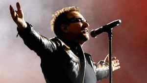 Bono, lead singer of the Irish rock band U2, performs during the band's 360 world tour at the Azteca stadium in Mexico City, Wednesday, May 11, 2011.