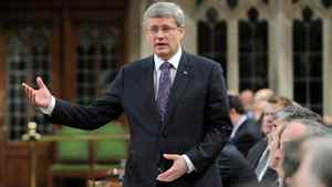 Prime Minister Stephen Harper speaks during Question Period in the House of Commons on Feb. 29, 2012.