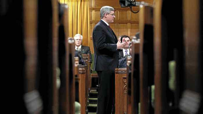 Canada's Prime Minister Stephen Harper speaks during Question Period in the House of Commons on Parliament Hill in Ottawa Jan. 30, 2012.