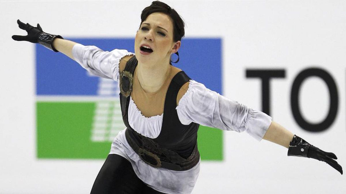 Alena Leonova of Russia performs during the women's short program at the ISU World Figure Skating Championships in Nice.