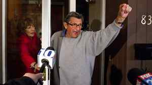 """Penn State coach Joe Paterno and his wife Sue on the front porch of their house, address students. The students yelled """"We Are Penn State"""" and Paterno responded, """"Yes we are!"""" Penn State University Board of Trustees announced the resignation of president Graham Spanier and firing of football coach Joe Paterno Wednesday Nov. 9, 2011."""