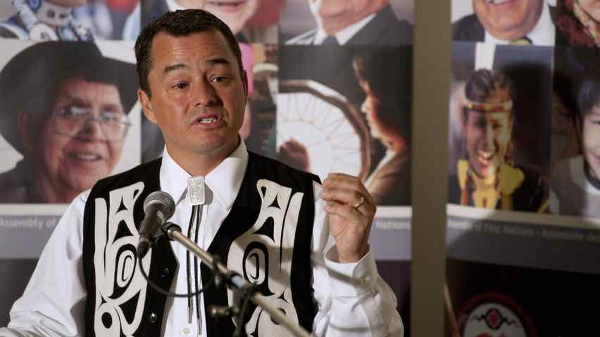 National Chief Shawn Atleo answers questions from the media during a press conference at the 32nd Annual General Assembly of the Assembly of First Nations in Moncton, NB on Tuesday, July 12, 2011.