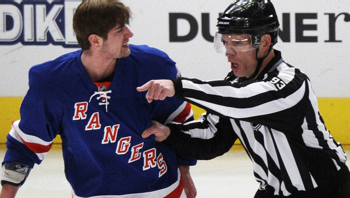 New York Rangers' Brandon Dubinsky is ejected from the game for fighting against the Ottawa Senators during the first period of Game 2 of their NHL Eastern Conference quarter-final playoff hockey game at Madison Square Garden in New York April 14, 2012. The Senators won 3-2 in overtime to even their series at 1-1. REUTERS/Ray Stubblebine
