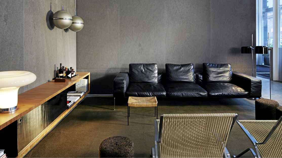 The understated minimalism of the Hotel Americano lobby is seen throughout the entire hotel.