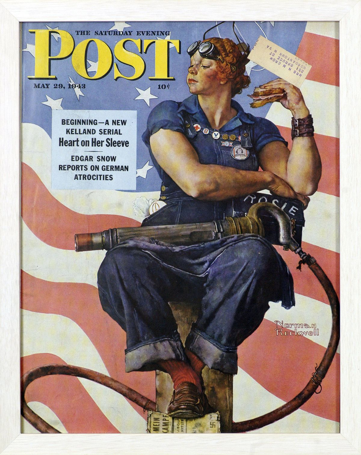 Rosie the Riveter Norman Rockwell, 1943 Tear Sheet. Cover illustration for The Saturday Evening Post, May 29, 1943.