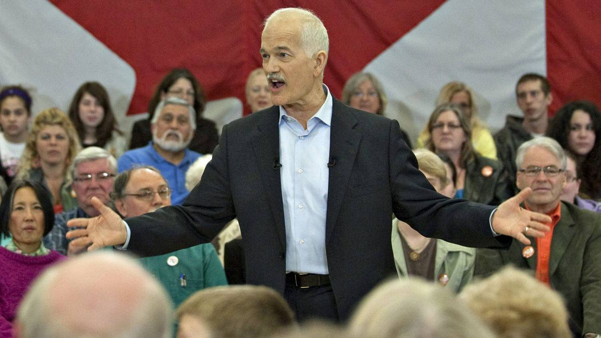 NDP Leader Jack Layton speaks to supporters at a town hall meeting on April 20, 2011 in Thunder Bay.