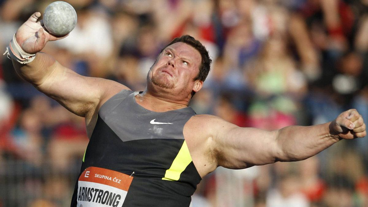 Canada's Dylan Armstrong makes an attempt in the Men's Shot Put at the Golden Spike Athletic meeting in Ostrava, Czech Republic, Friday, May 25, 2012.