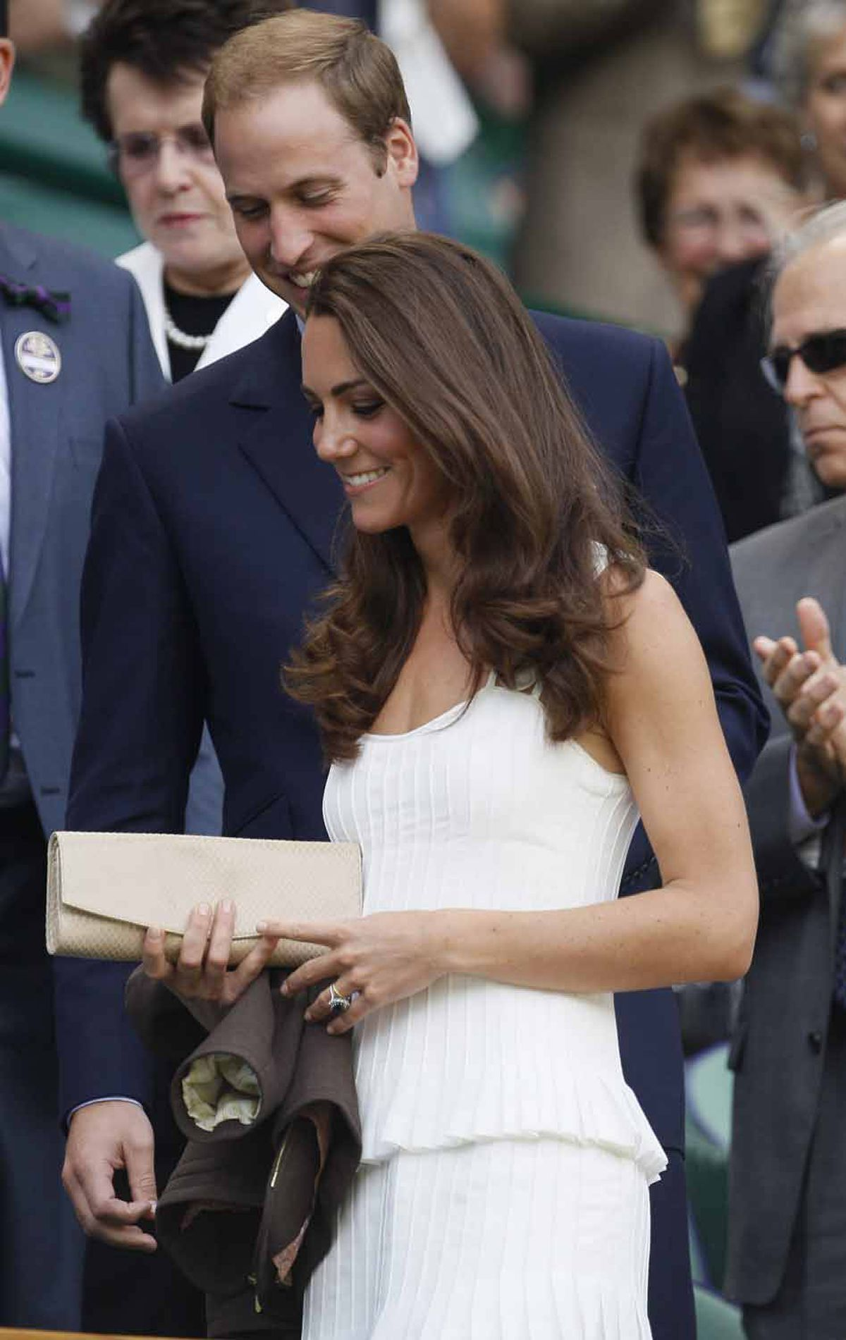 Kate attends Wimbledon on June 27 in a sporty white dress by Temperley London.