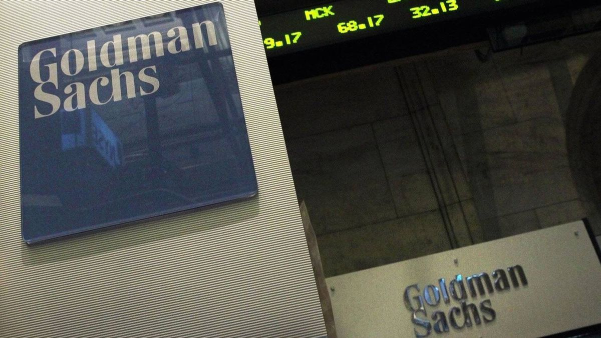 A Goldman Sachs sign is seen over their kiosk on the floor of the New York Stock Exchange in this April 26, 2010 file photograph.