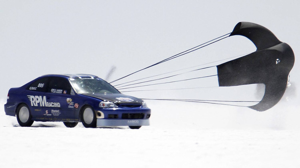 RPM Racing's Civic spins out of control during the third day of the 63rd annual Bonneville SpeedWeek race on the Bonneville Salt Flats outside Wendover, Utah.