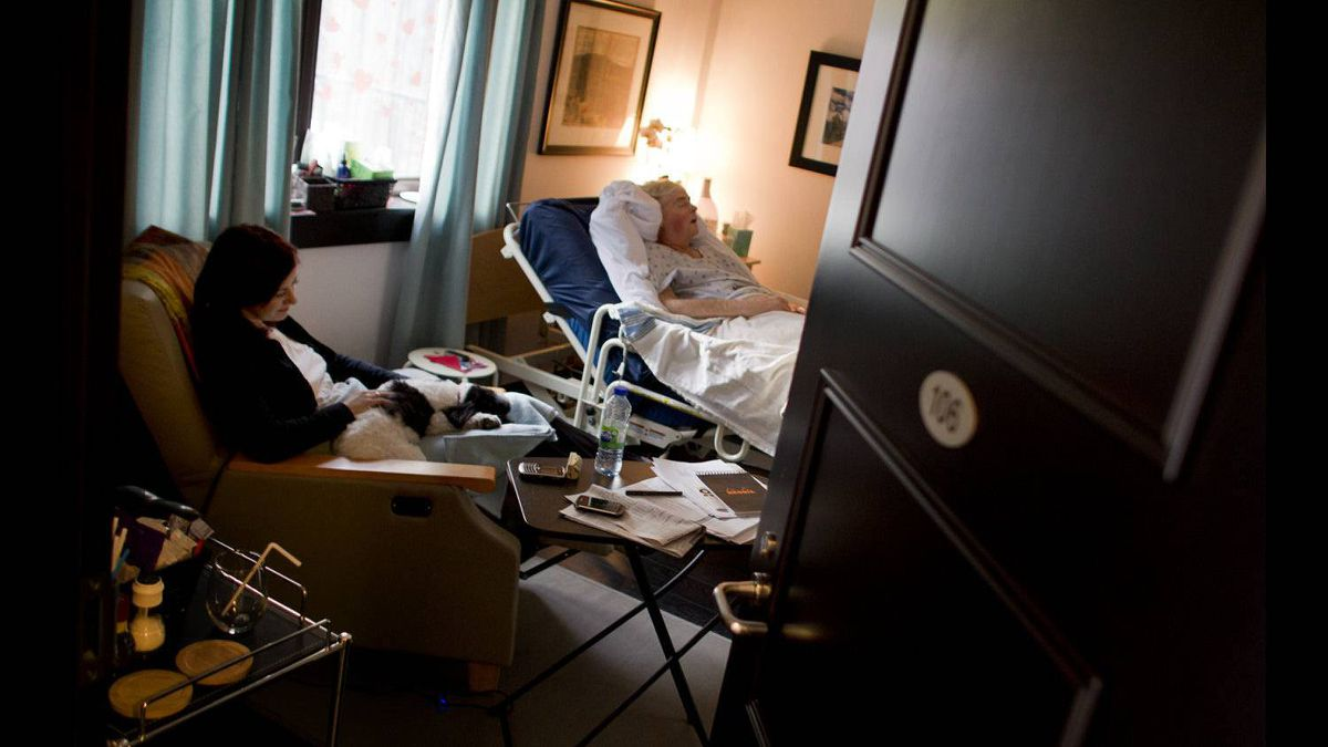 Marianne Kupina sits with Doug the dog on her lap and husband Andrew McCarthy at her side. She has been working from home and the hospice since her husband was admitted.