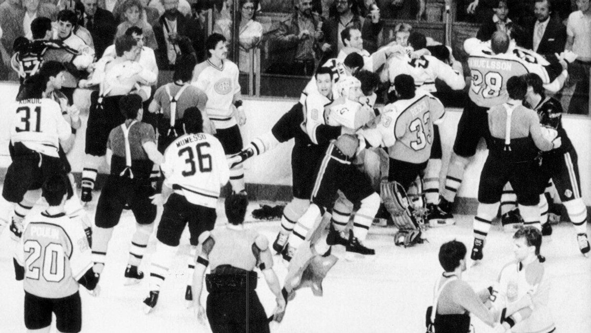 Members of the Philadelphia Flyers and Montreal Canadiens brawl following the pre-game skate in Montreal prior to game six of NHL playoff series. The brawl started with a fight between Canadiens' Claude Lemieux and Flyers Ed Hospodar in Montreal, Thursday, May 14, 1987.