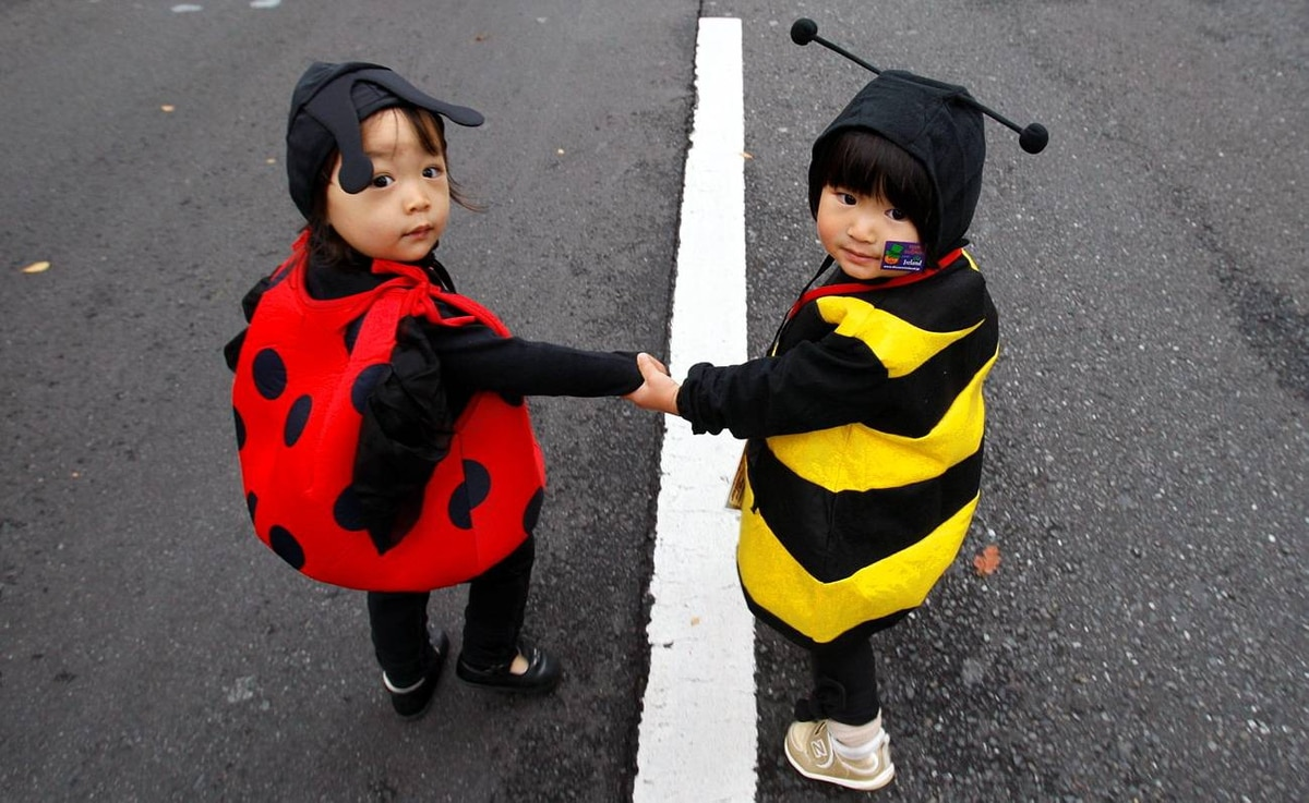 Girls in ladybug and bee outfits take part in Harajuku Omotesando Hello Halloween Pumpkin Parade 2009 in Tokyo on Oct. 25, 2009.