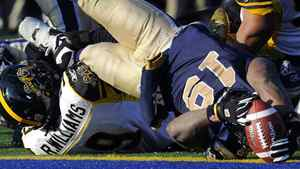 Winnipeg Blue Bombers' Chris Garrett (19) dives into the end zone over Hamilton Tiger-Cats' Renauld Williams for a touchdown during the second half of their CFL Eastern final football game in Winnipeg, Manitoba, November 20, 2011. The Bombers won 19-3 and advanced to the Grey Cup. REUTERS/Todd Korol