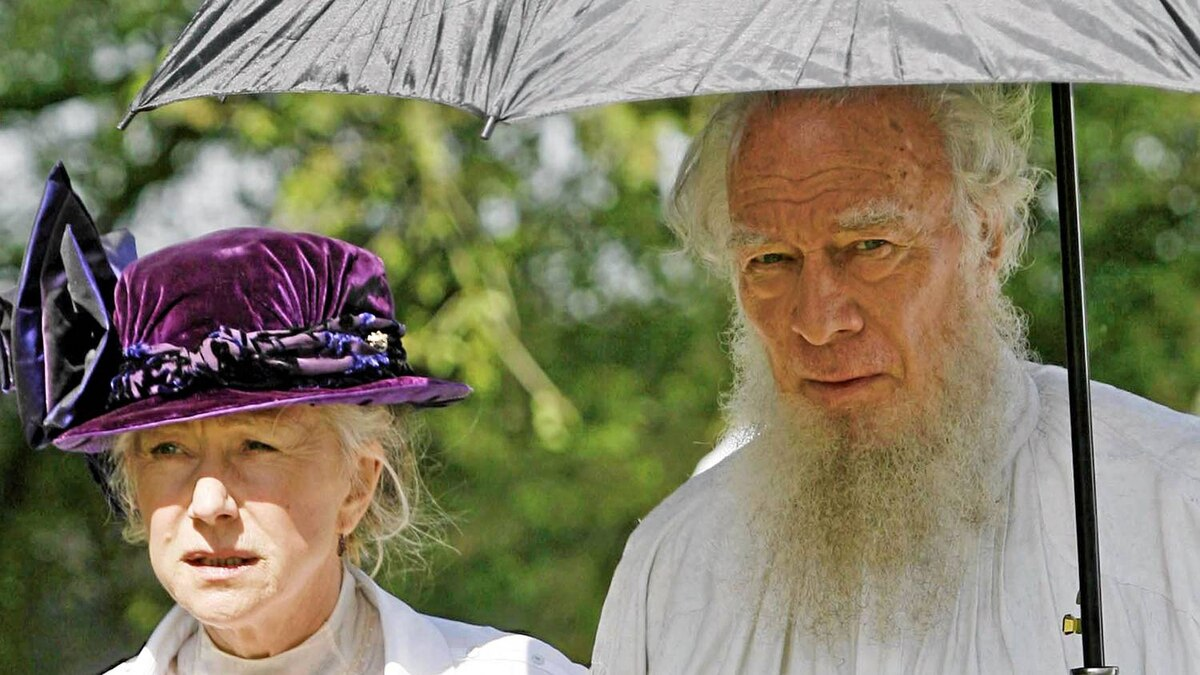 British actress Helen Mirren and Canadian actor Christopher Plummer walk aroud the set of the film 'The Last Station' currently been filmed in the eastern German town of Pretzsch om May 14, 2008. The film is a historical drama that illustrates Russian author Leo Tolstoy's struggle to balance fame and wealth with his commitment to a life devoid of material things.