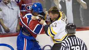 Montreal Canadiens George Laraque, left, fights with Boston Bruins Shawn Thornton in Montreal Oct. 15, 2008.