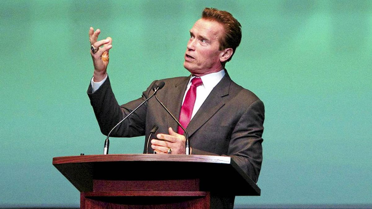 Former California governor and Hollywood action star Arnold Schwarzenegger speaks at an event in Toronto, Ont. Wednesday, January 26, 2011.