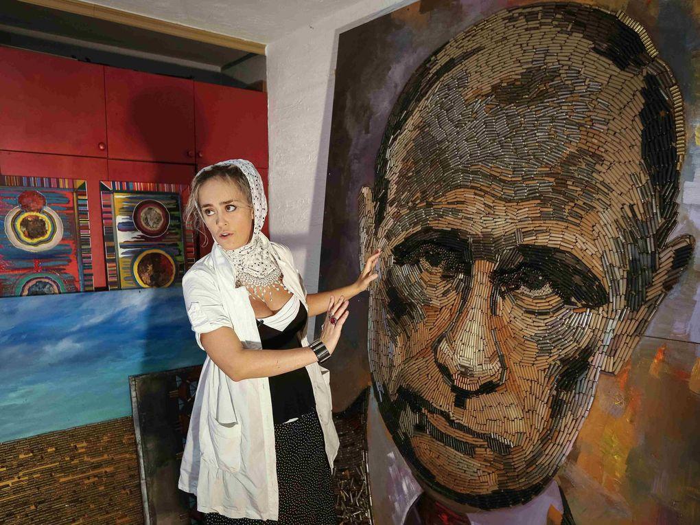 A Ukrainian artist uses 5,000 cartridges in her portrait of Vladimir Putin
