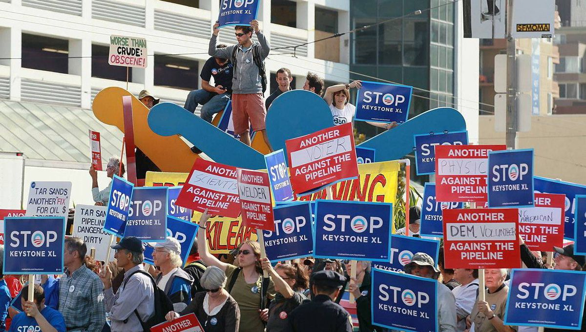 Protesters against the construction of the Keystone XL pipeline demonstrate in San Francisco before the arrival of U.S. President Barack Obama. Justin Sullivan/Getty Images