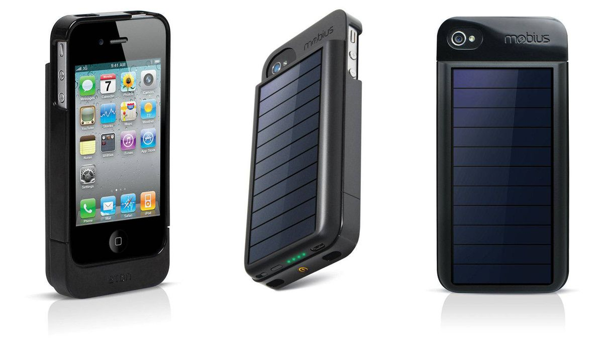 Solar-powered battery pack This sleek iPhone 4 case from Eton is also a battery back-up that is powered by the sun. One hour in the rays provides an extra 25 minutes of talk time or 145 minutes of audio playback, and a USB connection means you can sync with iTunes without removing the case. ($80; amazon.ca)