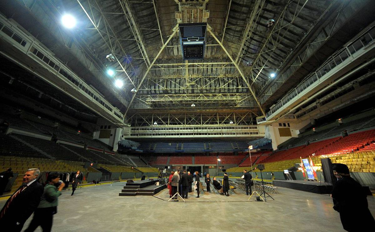 The empty ice surface at the venerable Maple Leaf Gardens was the site of an announcement that will see supermarket chain Loblaws opening a store there.