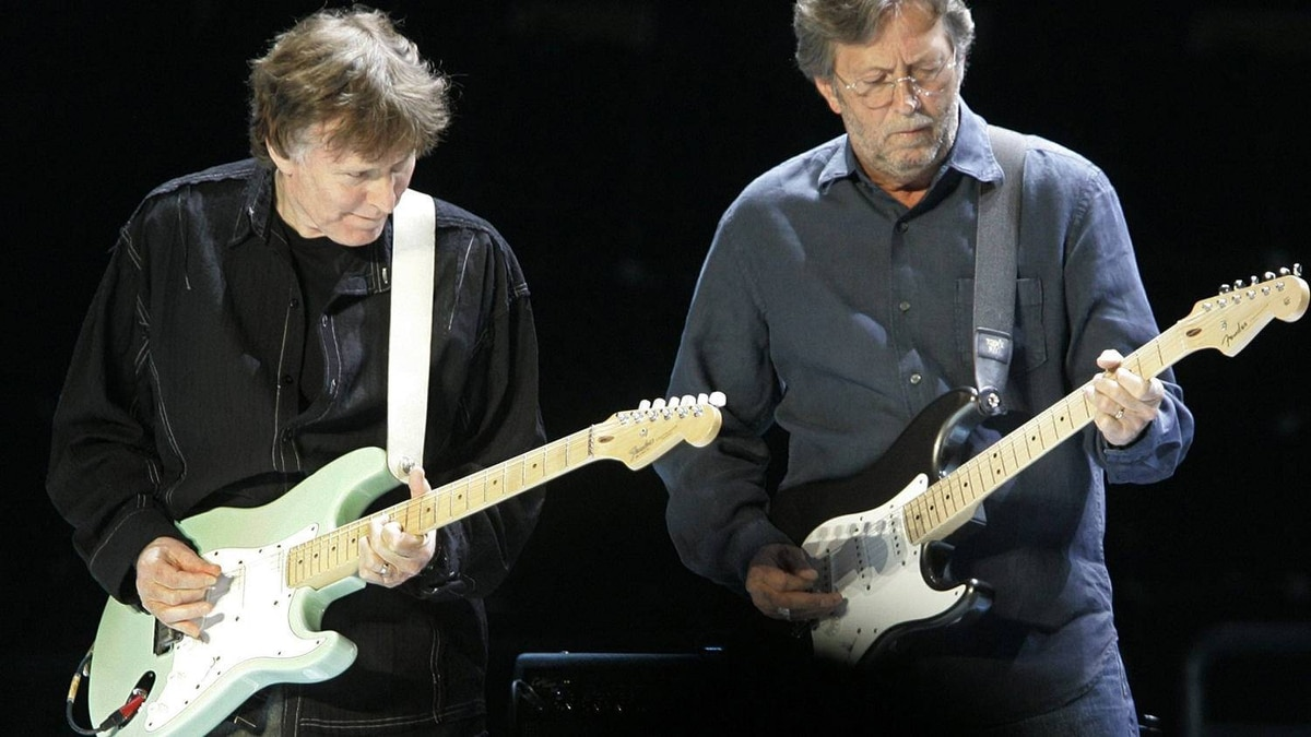 Former Blind Faith bandmates Steve Winwood, left, and Eric Clapton play their Fenders at a concert in New York's Madison Square Garden in 2008.