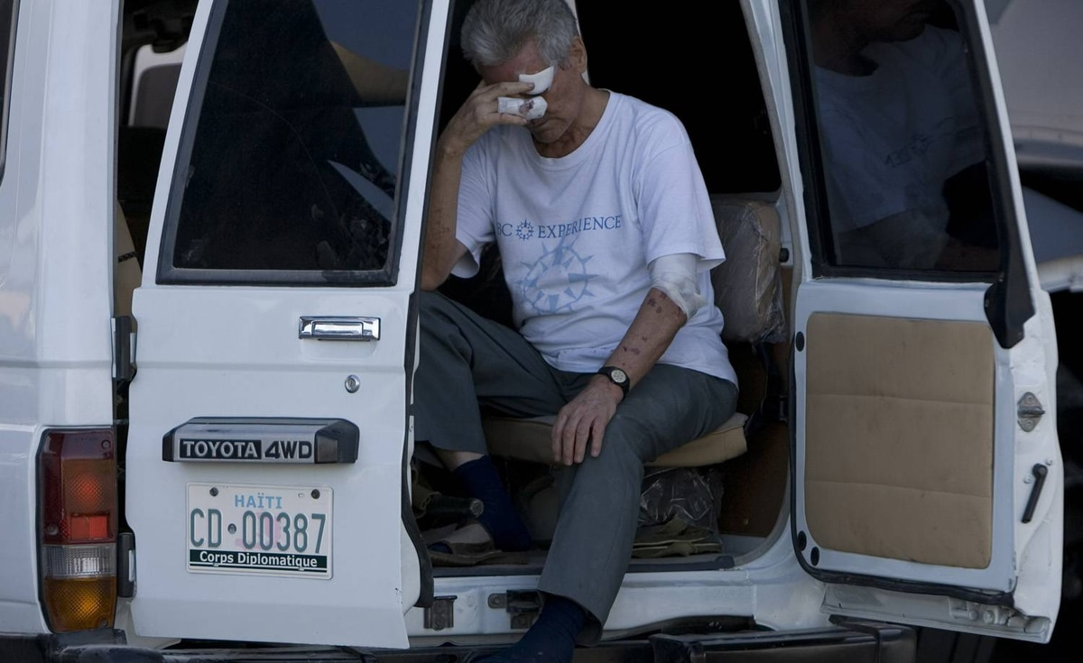 Father Bernard Doiron, 74, waits to be evacuated on a Canadian C17. Father Doiron has been a teacher in Haiti for 35 years.