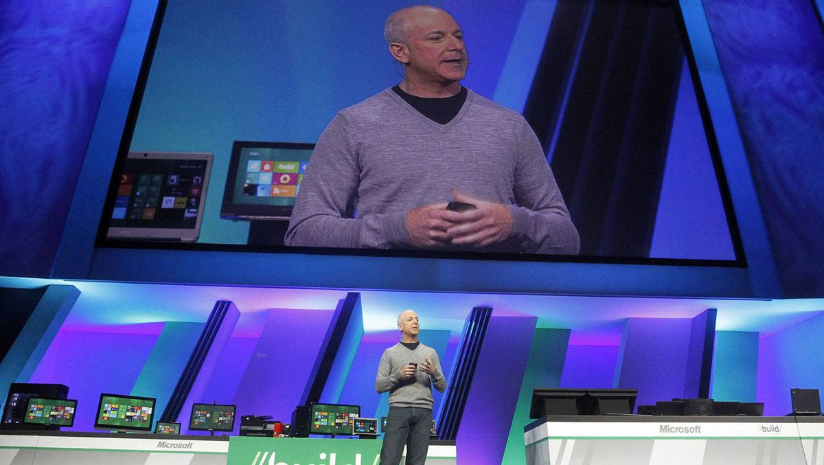 Microsoft's Build Windows unit chief Steven Sinofsky speaks as he introduces the release of Windows 8 in Anaheim, California September 13, 2011.