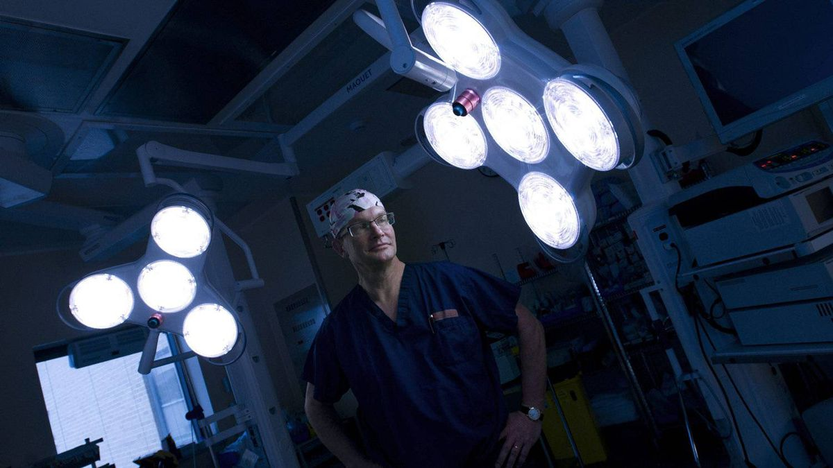 James Wright, the chief of surgery at Toronto's Hospital for Sick Children, in an operating room that was built with funds he raised personally.