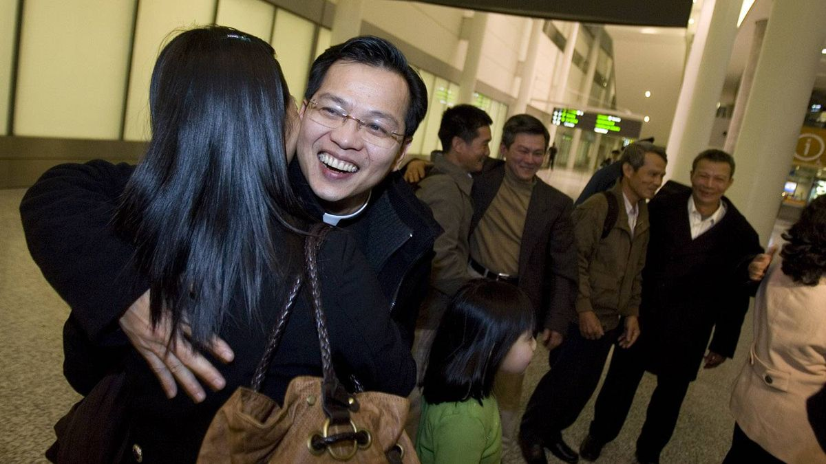 Vincent Nguyen, who will become Canada's youngest Catholic bishop and the first of Asian descent, greets four of his nine siblings arriving from Vietnam on Jan. 11, 2010. This is the first time in 30 years that all nine siblings have been reunited.